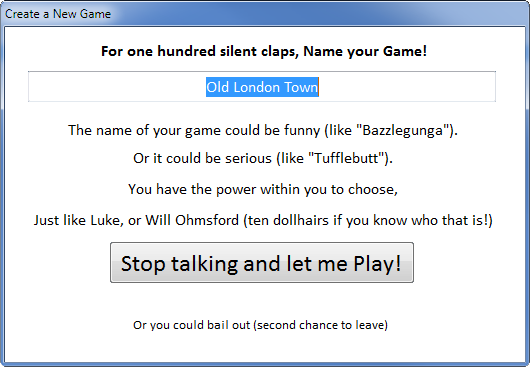 Create a new Game!
