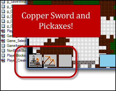 Copper Sword and Pickaxes!